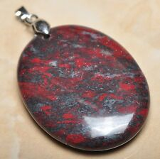 """Extremely Red Natural Bloodstone 925 Sterling Silver Clasp 2"""" Pendant #P09462"""