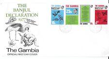 E9636 THE GAMBIA BANJUL DECLARATION 1977 - BIRDS, ANIMALS FDC