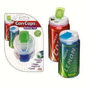 NEW JOKARI CAN CAPS Fizzy Drink Lid Stopper Locking Flip Top SET OF 2