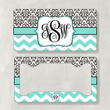 Monogram Car License Plate & Frame Auto Truck Tag Vanity Plate Custom(Set of 2)
