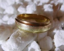 14k Yellow Gold And Rose Gold Ribbed Plain Or Wedding Band Custom Made Size 10