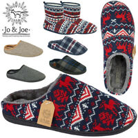 MENS MULES WINTER CHRISTMAS NORDIC HALF SLIPPERS LOAFERS TEXTILE SHOES SLIDERS