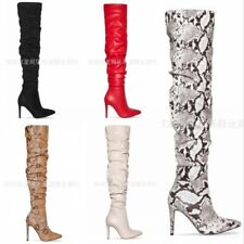 Womens Over the Knee Pleated Boots Snakeskin Printed Pointed Toe Stilettos Heel