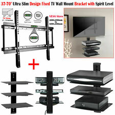 "37"" - 70"" Fixed TV Wall Bracket Mount + Triple Glass Shelf DVD Player Sky Xbox"