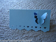 10 Light Blue Name Place Cards BUTTERFLY Wedding Christening Birthday Favour