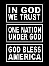 Three Patriotic Vinyl Decals In God We Trust One Nation Under God Bless America