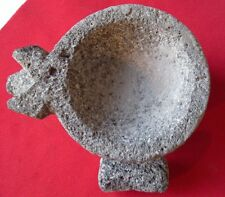 Mexican PIG Face MINI Lava Rock Molcajete and Pestle & FREE Brush - 1/2 CUP