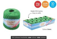 10 x Super Soft Crochet Cotton Ball 50g Wool Yarn Green NEW (WIN-088)