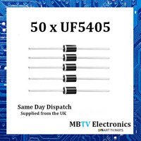 50 x UF5405 Diode 500V 3Amp 2-Pin DO-2 Soft Recovery Ultrafast Plastic Rectifier
