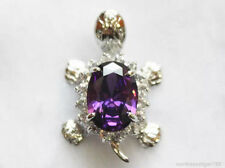 Blue Red Pink Purple Cubic Zirconia 18KWGP Tortoise Turtle Pendant & Necklace