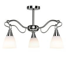 Lucille Satin Silver Ceiling 3 Light With Opal Frosted Glass