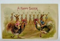 Antique Easter Fantasy Humanized Dueling Rabbits on Roosters EMBPostcard,Germany