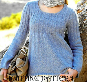 "Ladies round neck tunic sweater KNITTING PATTERN 32""-42"" Double knitting 341"