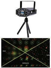 Mini Laser Light Projector Christmas Disco Party 4 patterns Green Red Premier