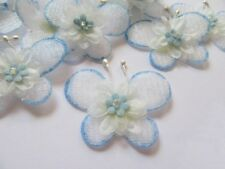 "40 Padded Organza Butterfly 1 5/8"" W/Flower Applique-Blue AB008"