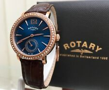 New Ladies Rotary watch Blue Swarovski Crystals Rose Gold Dolphin Standard(r112