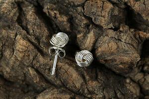 Sterling Silver 925 Knot Earrings Butterfly Fitting for Pierced Ears