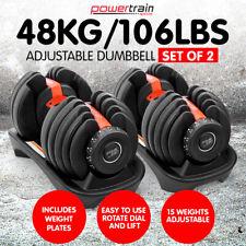 Powertrain Adjustable Dumbbells Set Home Gym Exercise Free Weights - 48kg