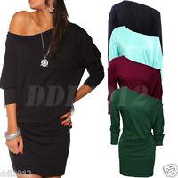 New Fashion Womens Long Sleeve Off Shoulder Mini Batwing Tunic Dress Top AU 8-20