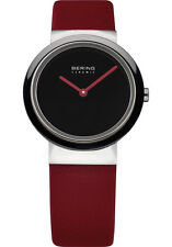 Bering Womens 10729-642 Ceramic Black Dial Red Calfskin Leather Band SS Watch