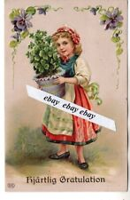 used 1914  BEAUTIFUL ANTIQUE GREETINGS POSTCARD GIRL  SWEDEN SWEDISH