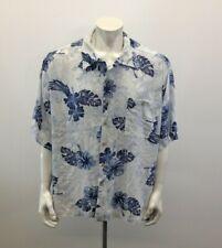 Islander Men's Hawaiian Shirt Size 3X Rayon Blue Palm Leaf Print Button Up Shirt