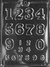NUMBERS 0 - 9 ( 2 SIZES) CHOCOLATE CANDY MOLD PARTY FAVORS CUPCAKE TOPPERS LOP