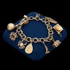 Antique Vintage Deco Mid Century 14k Gold Diamond Teacher HEAVY Charm Bracelet