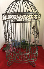 Vintage Metal Hanging Bird Cage Dome Top Ornate Shabby Chic