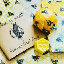 🦊 Natural Reusable Beeswax Food Wrap Ivory Bees Lovers - Choose Your Size Wrap