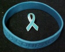 Teal Ribbon Pin Silicone Bracelet Set Awareness Cancer Causes Ovarian PTSD New