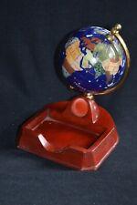 "Gemstone World Globe 3.5"" Lapis Oceans Ring Holder Desktop Bedside Wood? Base"
