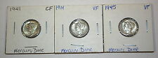 3 Mercury Dimes 1941 Ef, 1944 Vf, 1945 Vf, One Lot