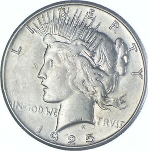 Choice AU/UNC 1925-S Peace Silver Dollar - 90% Silver *351