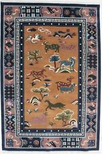 Coral Pictorial Art Deco Hand Carved 6X9 Chinese Style Oriental Area Rug Carpet