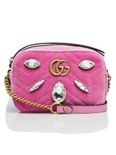 AUTH GG MARMONT VELVET  GUCCI SMALL QUILTED SHOULDER BAG CRYSTALS MARQUISE