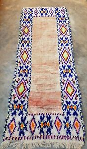 Worn Vintage Moroccan wool  rug 240 x 92 cm
