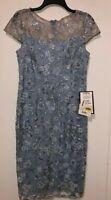 Women's Dress Alex Evenings Light Blue Lace Cap Sleeve Regular Size 6 NWT $199
