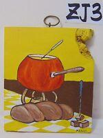 ORIGINAL SIGNED FOLK ART PAINTING ON WOOD PJ BICK MID CENTURY FOOD FONDUE RETRO