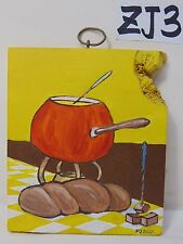 ORIGINAL SIGNED FOLK ART PAINTING ON WOOD PJ BICK MID CENTURY FOOD FONDUE RETRO