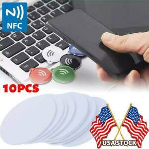 10Pcs Ntag 215 NFC tags sticker phone available adhesive labels RFID Tag USA