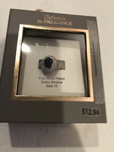 NIB Believe by brilliance Sz 10 Fine Silver Plated Cubic Zirconia Ring