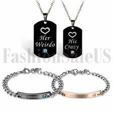Weirdo Couple Tag Necklace Bracelet Set His Hers Stainless Steel His Crazy Her