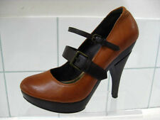 Ladies brown tan suede leather FAITH SHOES mary janes size UK 6 coxley platforms