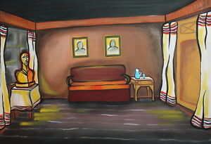Vintage theatre stage design gouache drawing room interior