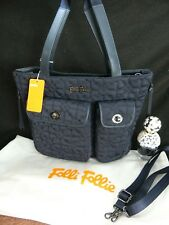 Folli Follie Heart 4 Heart Navy Quilted Nylon Multi-pockets Zipped Mid Tote Bag