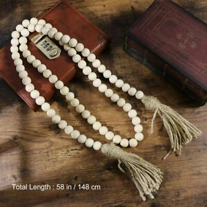 Wooden Beads Garland Tassels Farmhouse Beads Rustic Country HangingDecorsGift