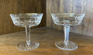 """Waterford Crystal Lismore 4 1/8"""" Saucer Champagne Tall Sherbet Glass-Set of 2"""