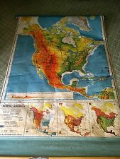 1957 North America Us School Pull Down Map-A J Nystrom-Original Wall Mount-Works