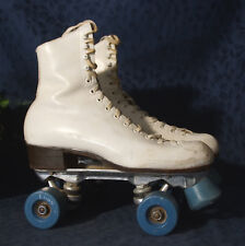 Chicago Style White Leather RIEDELL Roller Skates Super X 5R Sure-Grip Plates 8